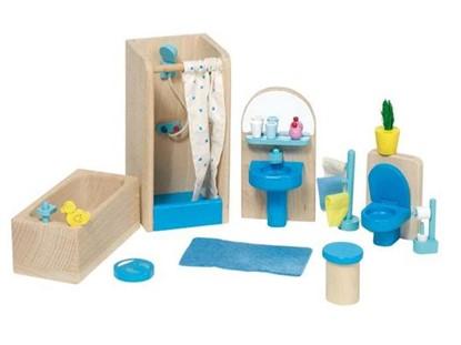 Billede af Badeværelse møbler til dukkehus fra Goki