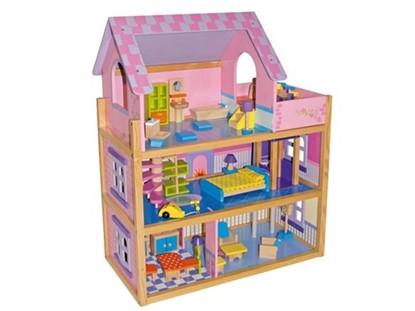 Billede af Stort dukkehus i 3 etager med altan