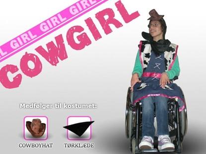 Billede af Cowgirl - Pink kostume til kørestolsbruger