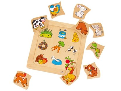 Billede af Hvad spiser dyrene.- Træ puslespil