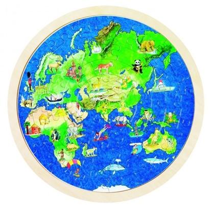 Billede af Træ Puslespil Verdenskort på rund plade