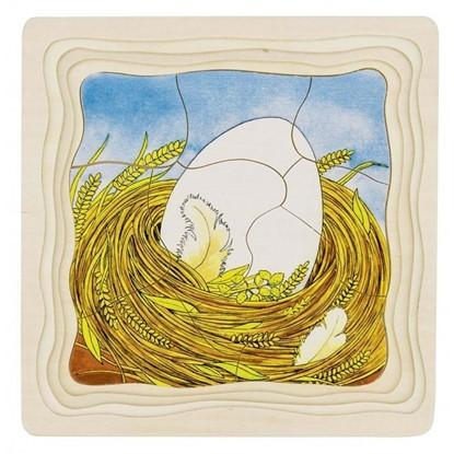Billede af Træ Puslespil fra æg til høne