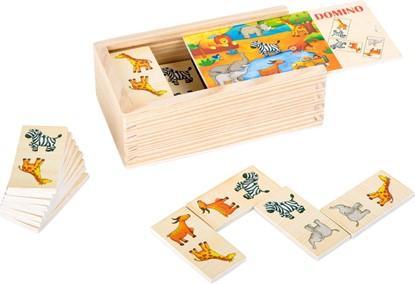 Billede af Dominospil i træ. Motiv af vilde dyr