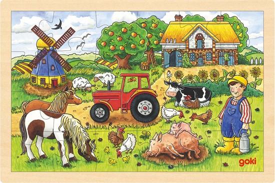 Billede af Træ puslespil  - På gården