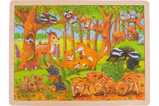 Billede af Puslespil i træ- Skovens dyr unger