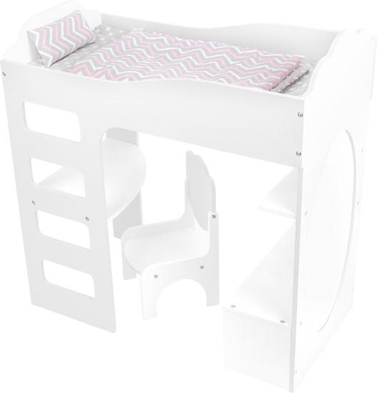 Billede af Højseng med skrivebord under, til dukker