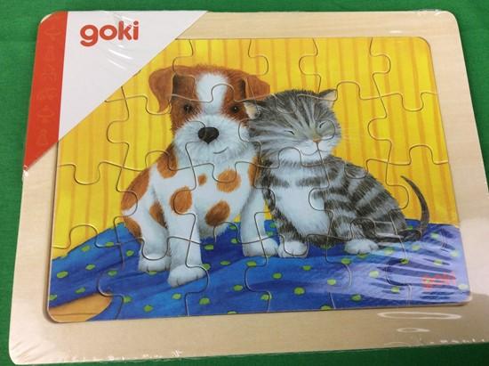 Billede af Træ puslespil,  Kat og hund