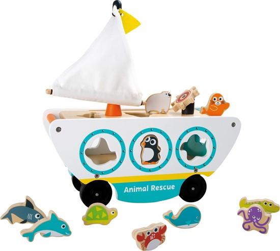 Billede af Træk legetøj - Båd med havdyr