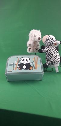 Billede af Hånd dukker i kuffert - Isbjørn og Zebra