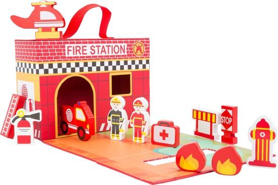Billede af Small Foot Legekuffert med brandstation
